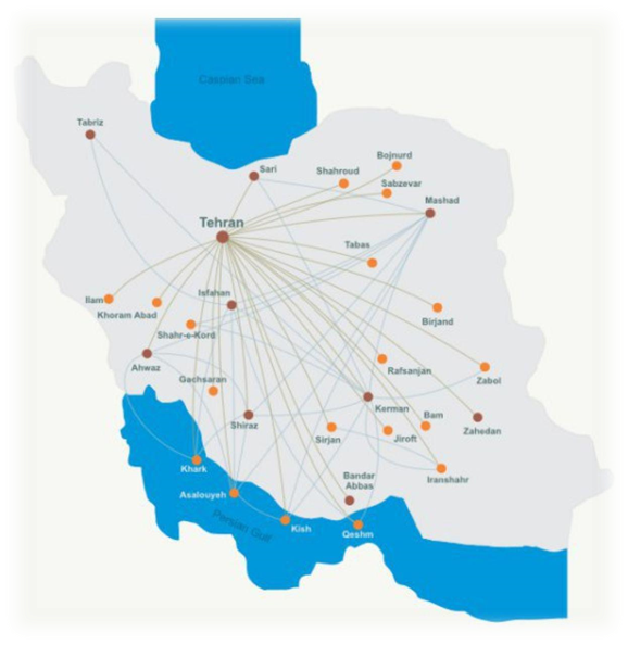 Domestic Flight Route in Iran