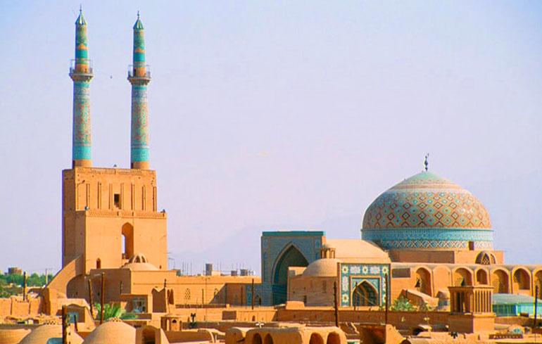 Yazd Grand Mosque and the historical minarets of the city